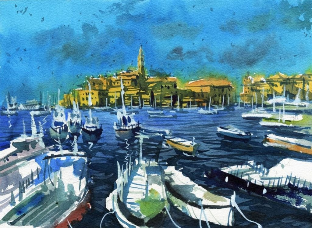 Sailboats docked watercolor painting by Darren Yeo