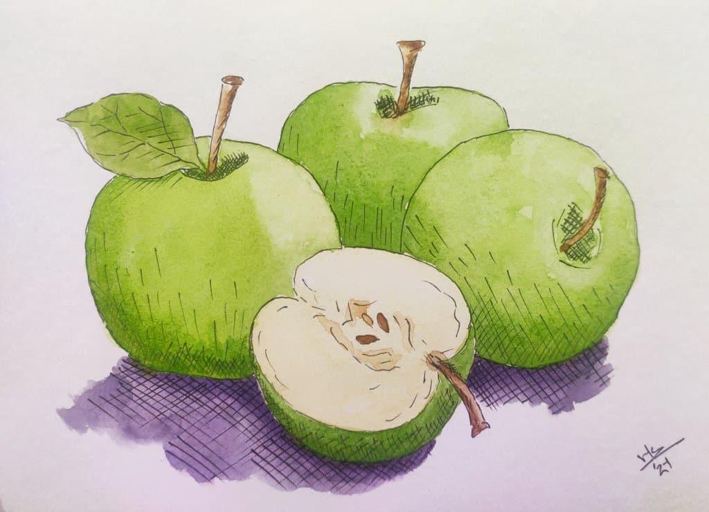 Day 10 Prompt: Apples #doodlewashoctober2021 Apples_Varsha Koli
