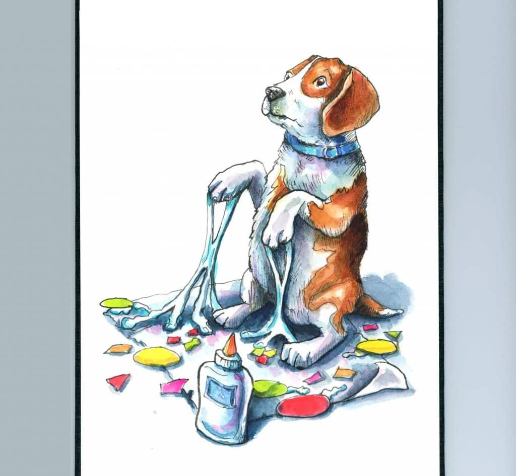 Beagle Craft Project Glue Mess Watercolor Illustration Sketchbook Detail