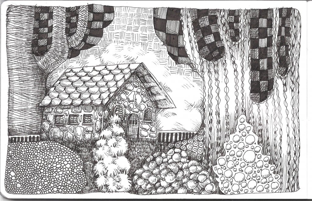 * #DoodlewashOctober2021: House. * #Inktober2021 prompt: Roof. This is a bit of a cheat because I dr
