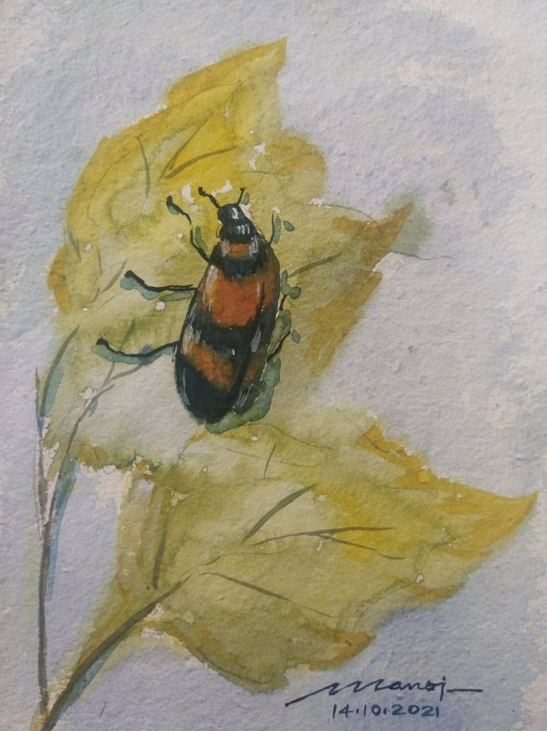 Dt: 14.10.2021 Sub: BUG Watercolour painting handmade paper IMG_20211014_151524
