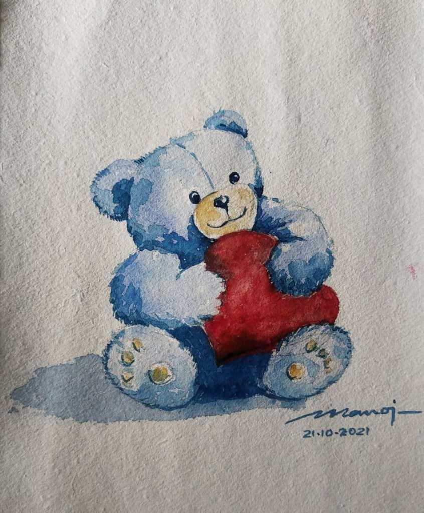 Dt: 21.10.2021 Sub: STUFFED ANIMAL Watercolour painting on handmade paper IMG_20211021_155148