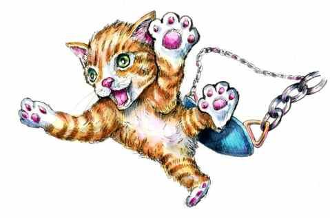 Jumping Out Of Swings Kitten Ginger Tabby Jumping Swingset Watercolor Illustration