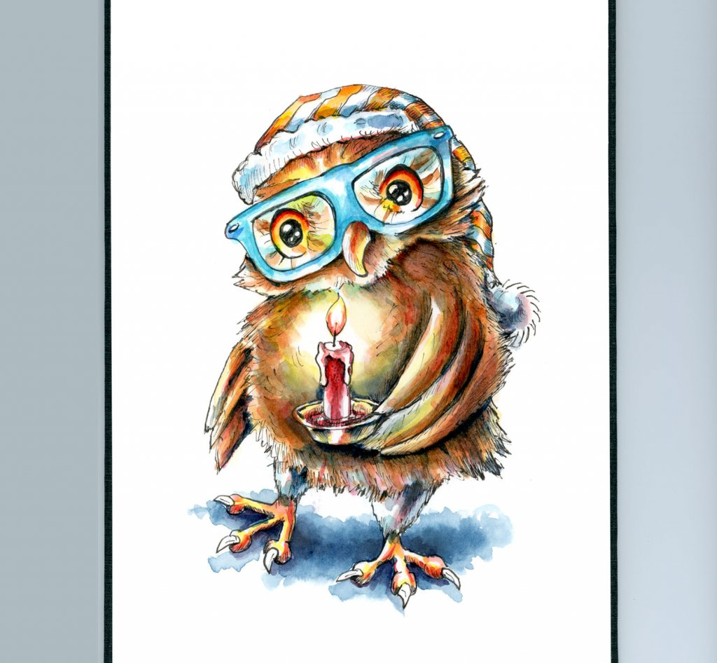 Owl Wearing Glasses Holding Candle Spooky Watercolor Illustration Sketchbook Detail