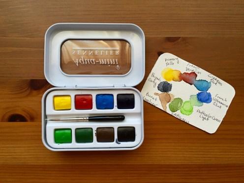 Sennelier Aqua-mini palette open with paint swatch