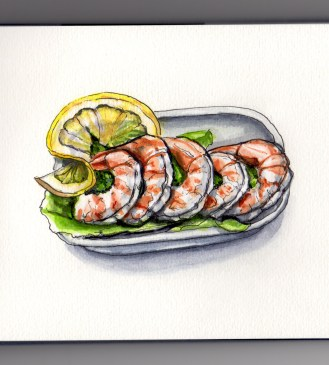 Doodlewash and watercolor sketch of shrimp cocktail in dish with yellow lemon on greens