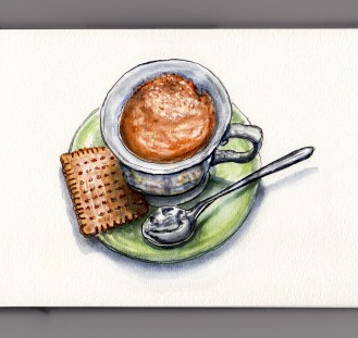 Day 5 #WorldWatercolorMonth Coffee Cup on green saucer with spoon and cookie white background