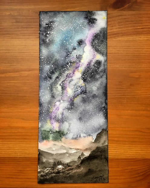 Holbein Palm Box Plus watercolor milky way painting by jessica seacrest