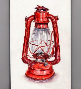 Day 15 #WorldWatercolorGroup Camping Through An Ice Storm Red Kerosene Lantern