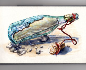 Day 6 #WorldWatercolorGroup Message In A Bottle Glass Bottle With Cork and Red Twine On Beach
