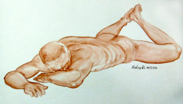 #Doodlewash - Watercolor Sketch by Abel Pabres - Older man nude - #WorldWatercolorGroup