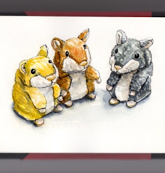 Day 28 - #WorldWatercolorGroup Plush Toys Hamster Plush Set