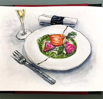 Day 6 #WorldWatercolorGroup Dîner À Paris - Dinner in Paris Salmon and Beets with champagne