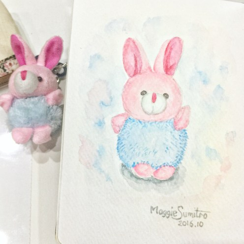 #WorldWatercolorGroup - Watercolor by Maggie Sumitro - Bunny Key Chain - #doodlewash