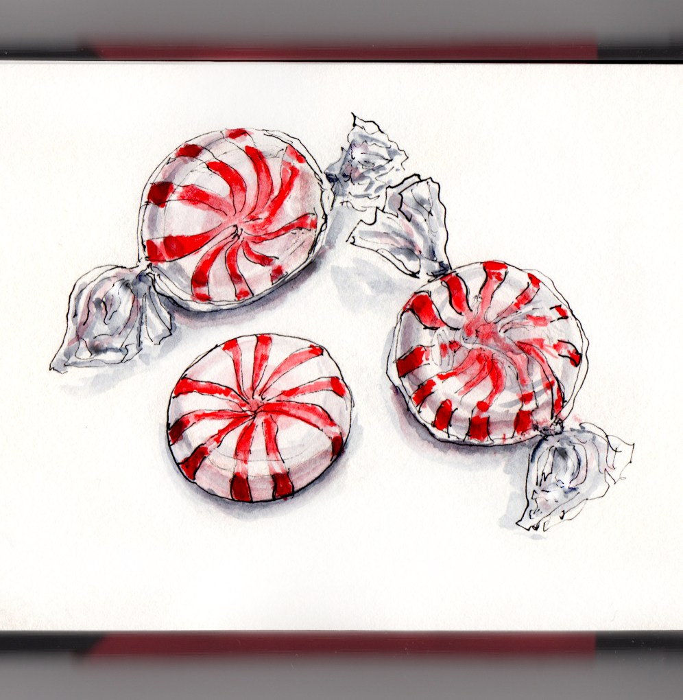 Day 1 - #WorldWatercolorGroup Peppermint Starlight Mints wrapped on white background watercolour