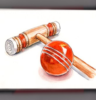 #WorldWatercolorGroup Fancy a game of croquet mallet and ball orange white background