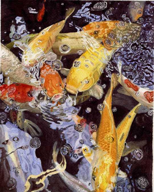 #WorldWatercolorGroup - Watercolor painting by Jodi Sones of koi fish - #doodlewash