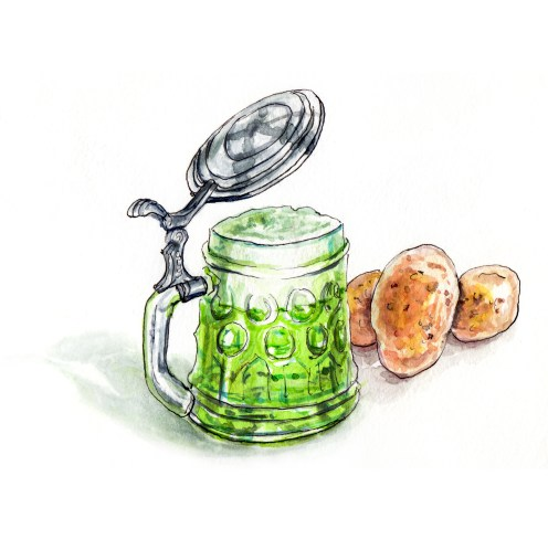 Day 17 - #WorldWatercolorGroup - Green Beer and Potatoes Mood - #doodlewash