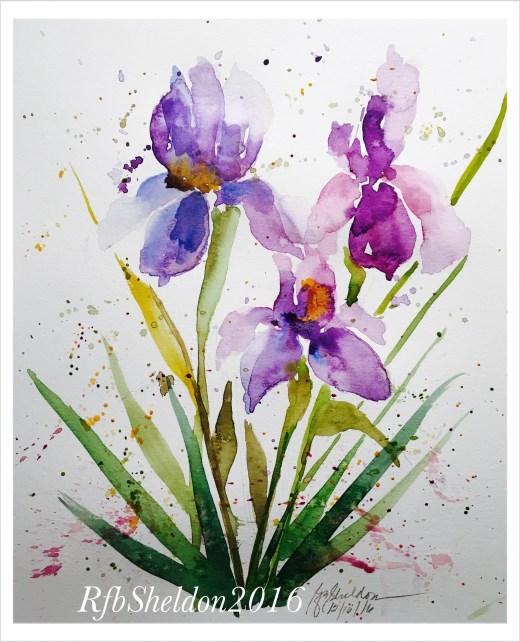#WorldWatercolorGroup - Watercolor painting of purple flowers by Rocelee F. Benedicto-Sheldon - #doodlewash