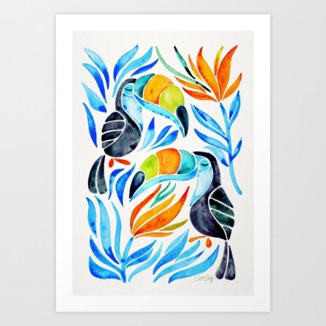 #WorldWatercolorGroup - Watercolor Art by Cat Coquillette - Tropical Toucans Art Print - #doodlewash