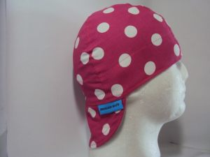 Polka Dots White On Hot Pink Welding Hat