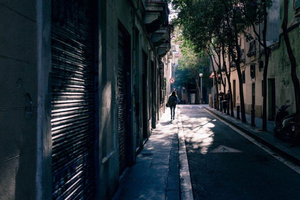 Walking down an alley