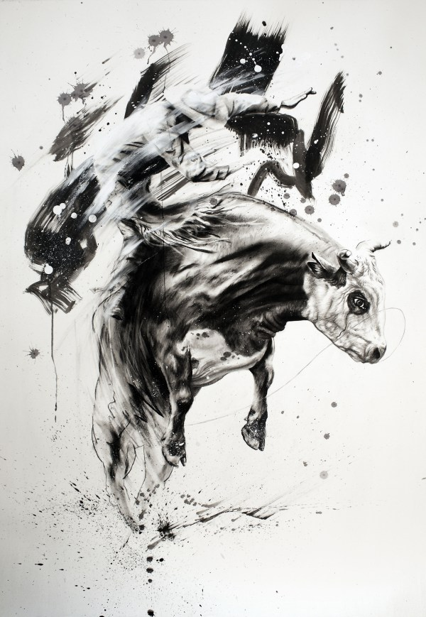 Bull Riding Drawings Art