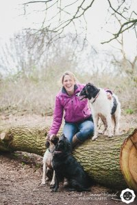 Owner with dogs sitting on a log