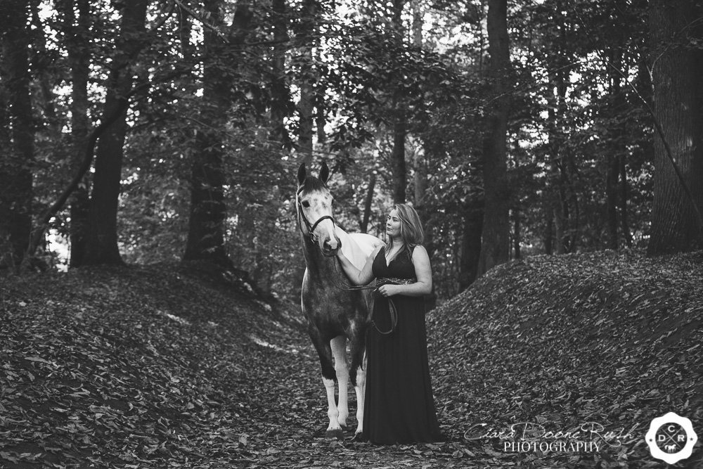 a woman and her horse in delamere forest