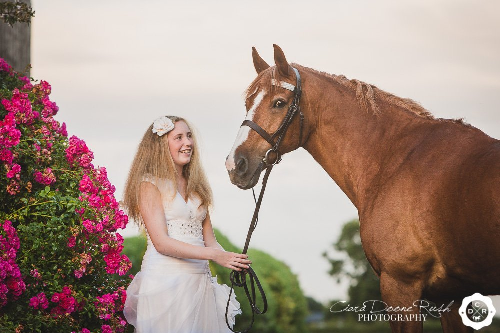 a pony and teenager on a photo shoot