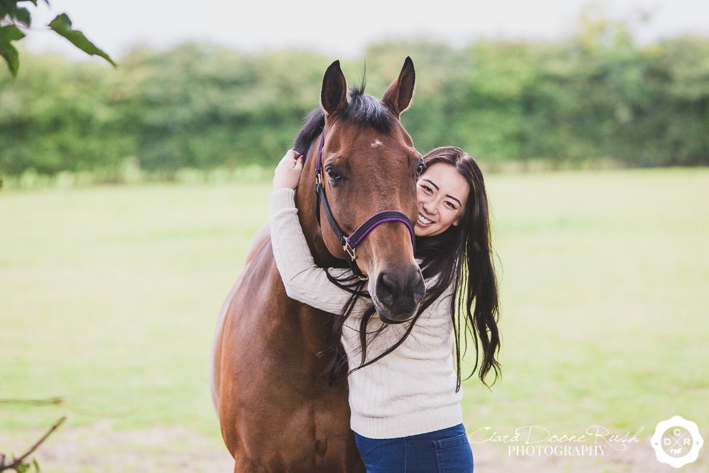 horse and rider on a photo shoot
