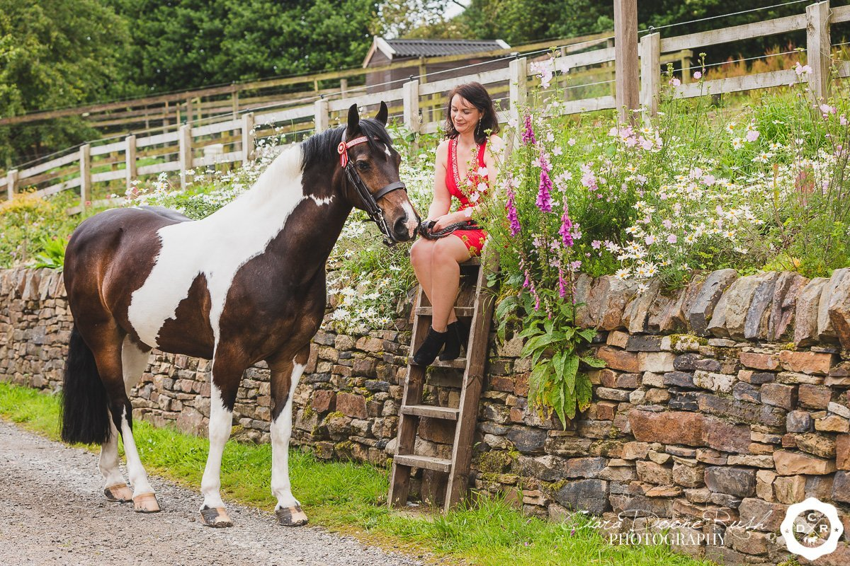 on location in glossop for a Horse and rider photo shoot