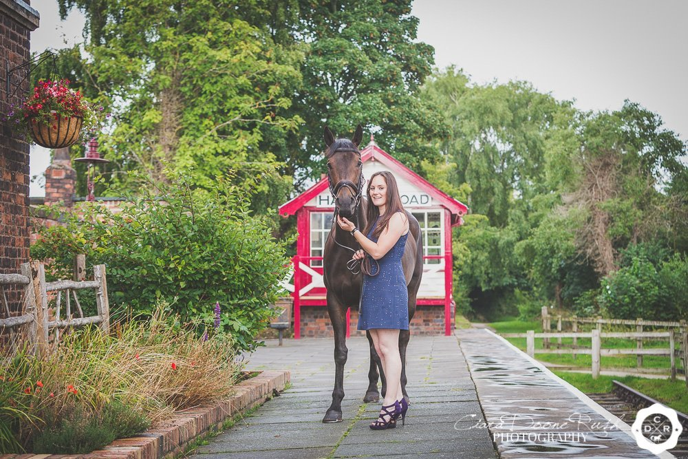 a girl and her horse on a photo shoot at hadlow road station