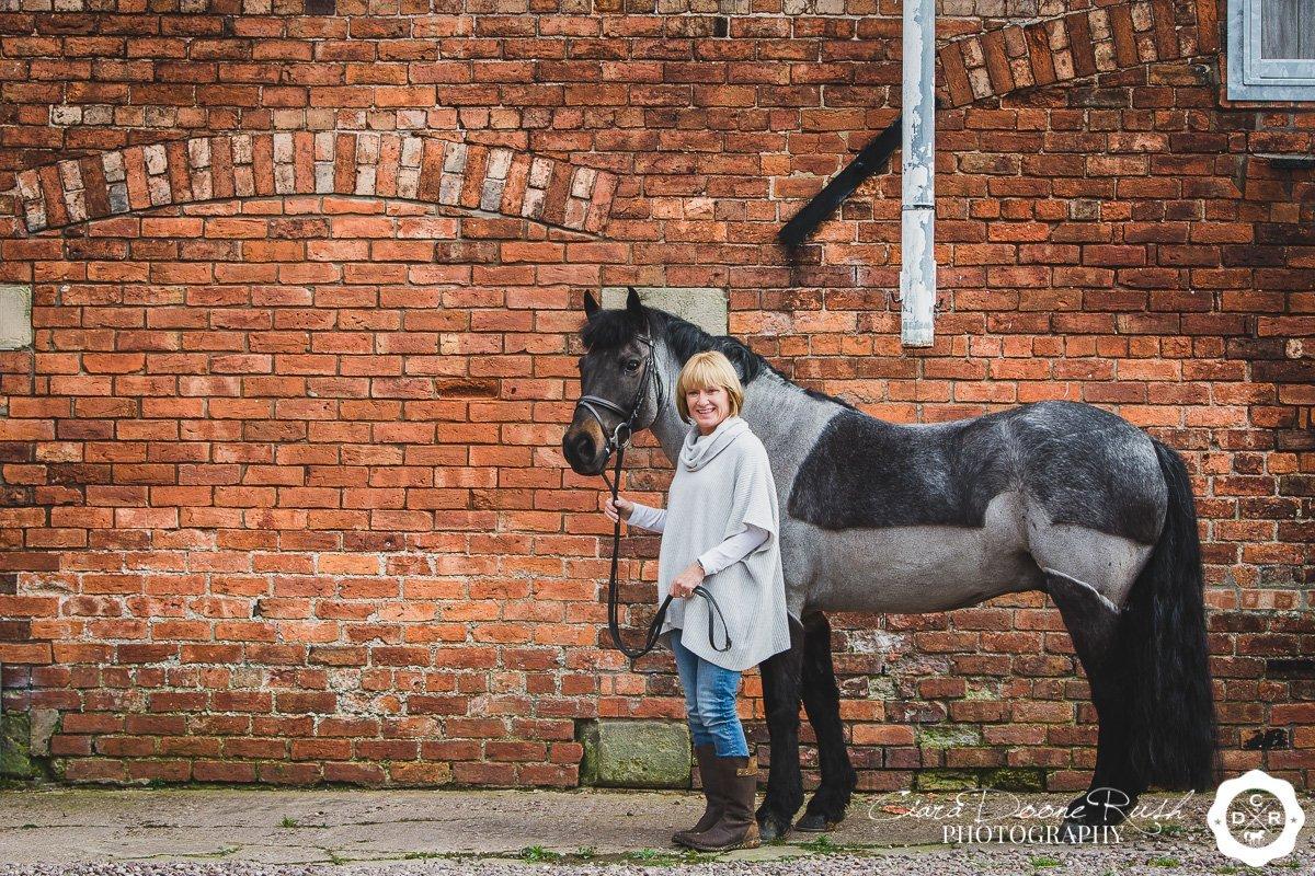 horse and rider farm photo shoot