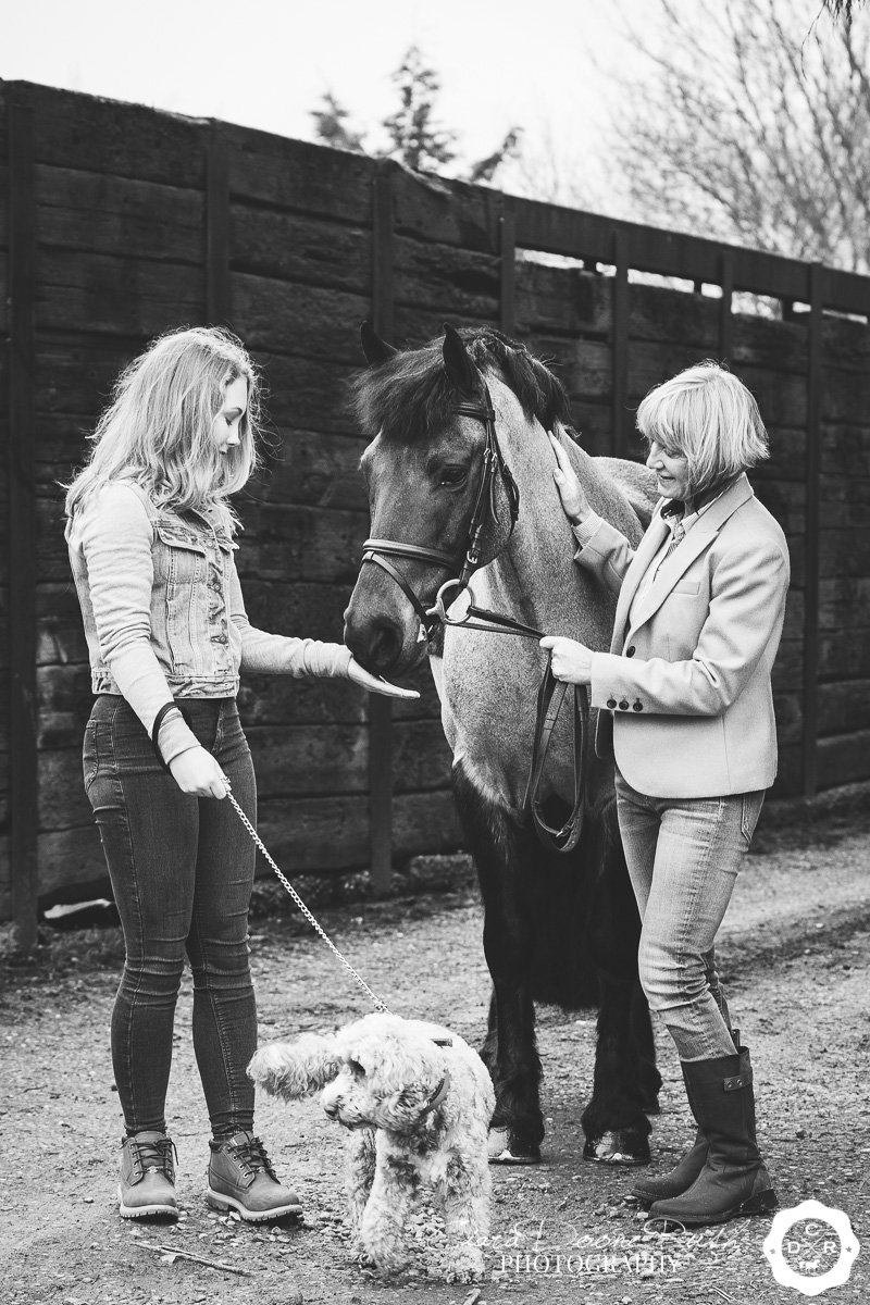 mother, daughter and pony