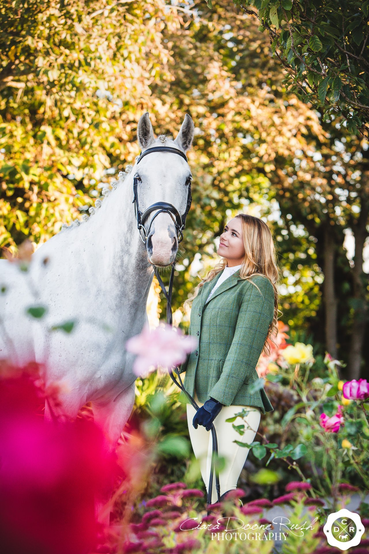A girl and her horse on a horse and rider photo shoot at leasowe castle