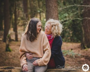 a mother and daughter on a photo shoot