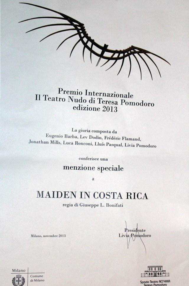 "Premio Int.le Teatro Nudo ""T. Pomodoro"""
