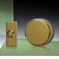 Wind-Up Mechanical Doorbell, Brass with Brass Push,
