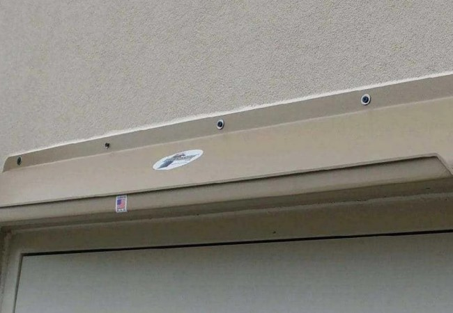 DOORBRIM Entrance Door Canopy has a front gutter that sheds water away from your structure to protect doors and hardware.