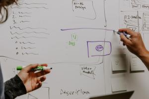 People collaborating on an whiteboard