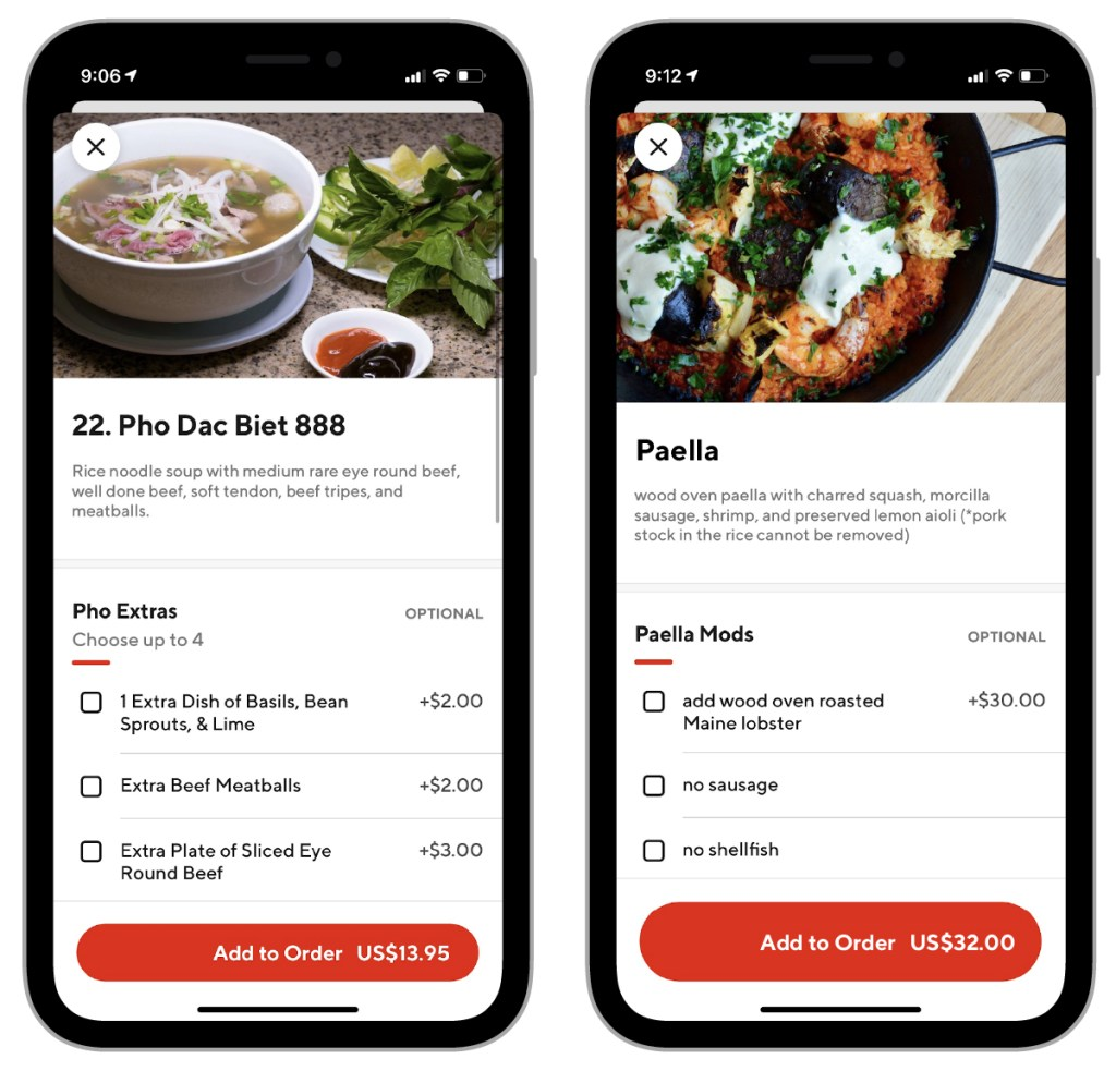 online delivery menu examples of extra options