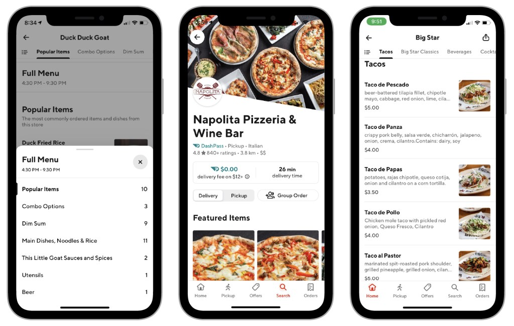 Three examples of different menu styles