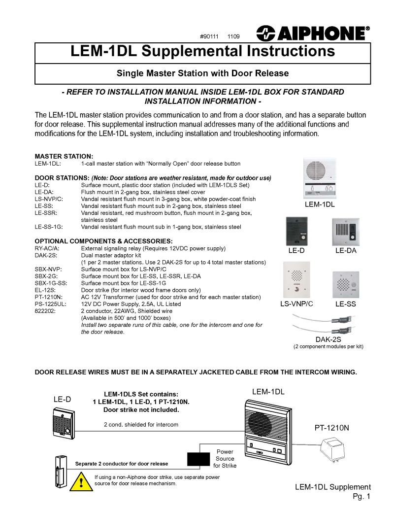 hight resolution of aiphone lem 1dl installation manual