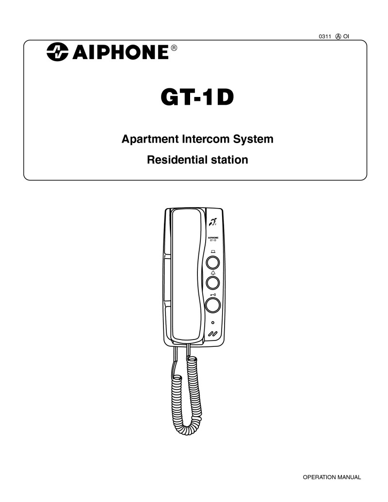 hight resolution of aiphone gt 1d user manual