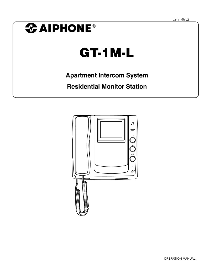 hight resolution of aiphone gt 1m l user manual