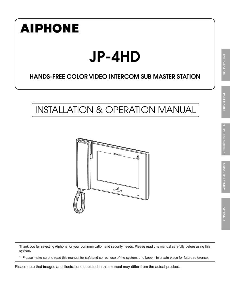 aiphone intercom wiring diagram danfoss vlt 6000 hvac installation instructions jp 4hd instruction manual