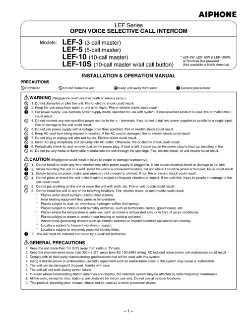 small resolution of  aiphone installation instructions on aiphone lef 5 parts aiphone lef 5 cover aiphone lef
