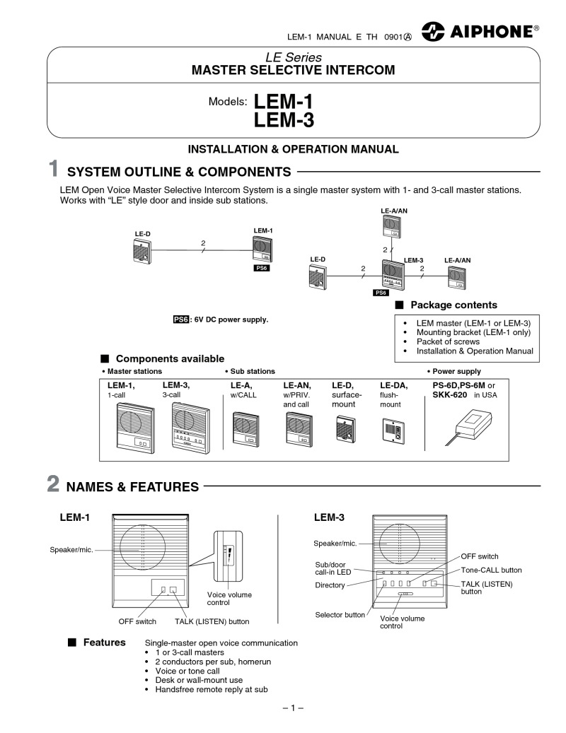 hight resolution of lem sub master station instructions