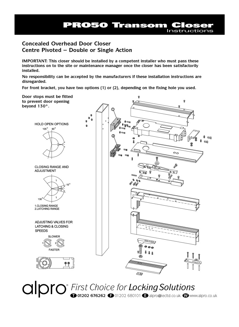hight resolution of transom closers instructions